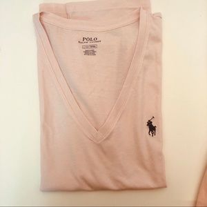 💖💖POLO- pastel pink v neck short sleeve T-shirt
